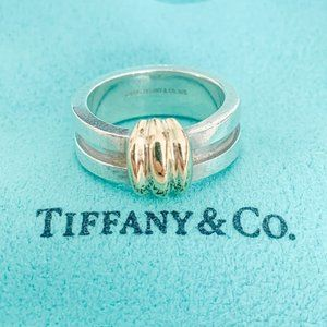 Tiffany & Co.   Two Tone Groove Ring Size 6.5 18K